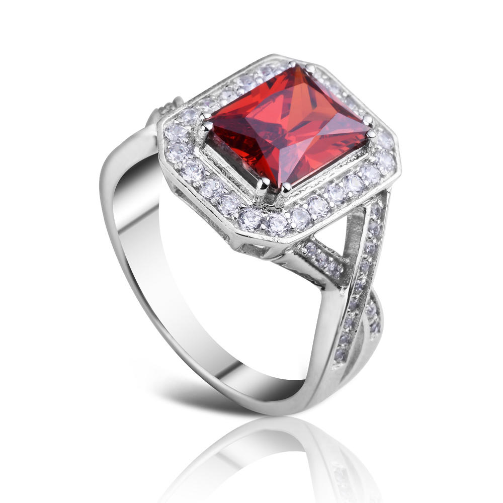 product-Rhodium plating red stone square lots sterling silver rings-BEYALY-img-1