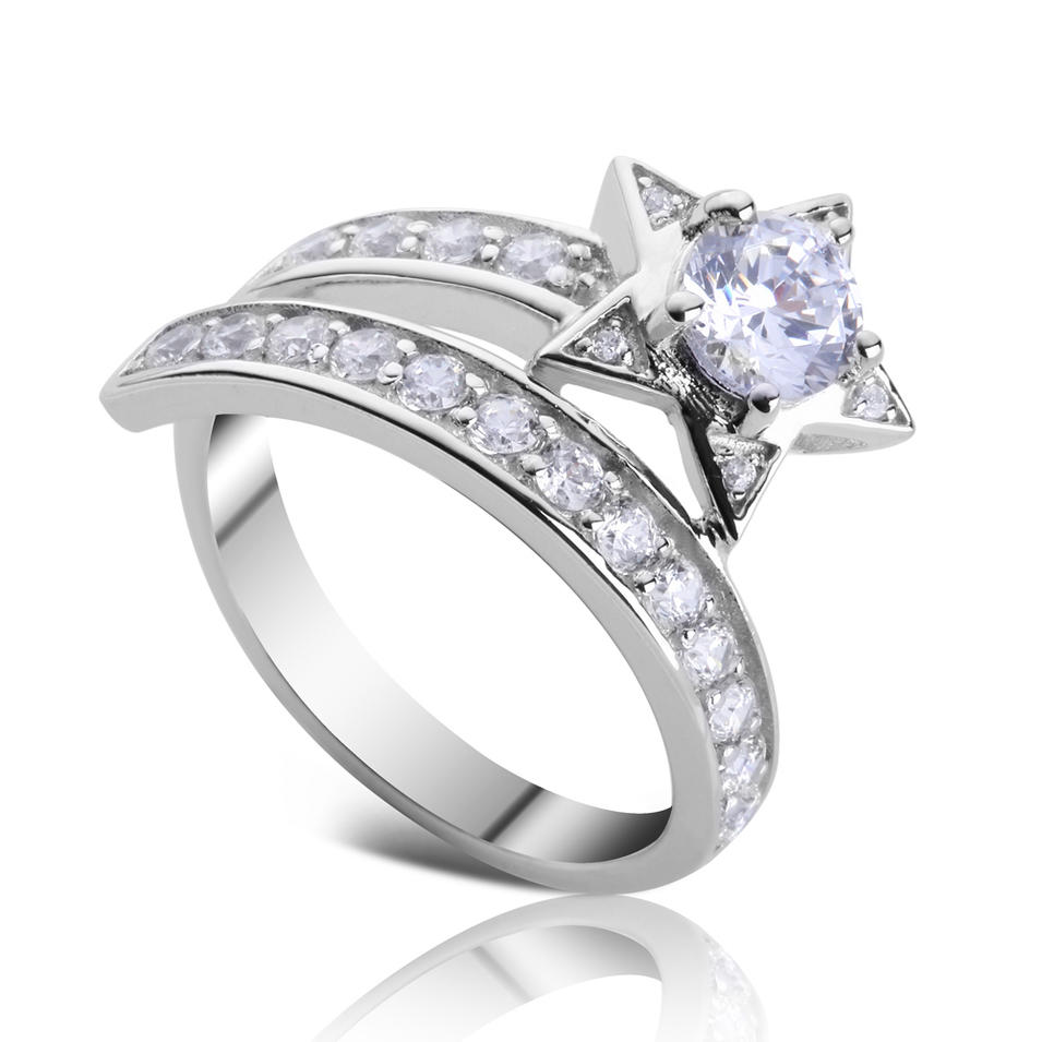 Fantastic girls cz star design 925 sterling silver meteor finger rings