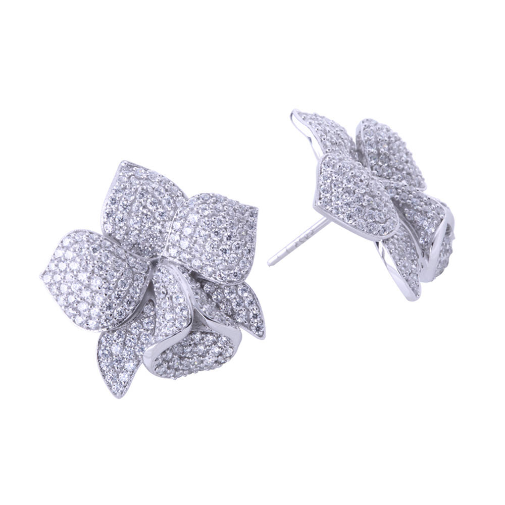 product-BEYALY-Full pave setting aaa cz blooming flower stud earrings-img