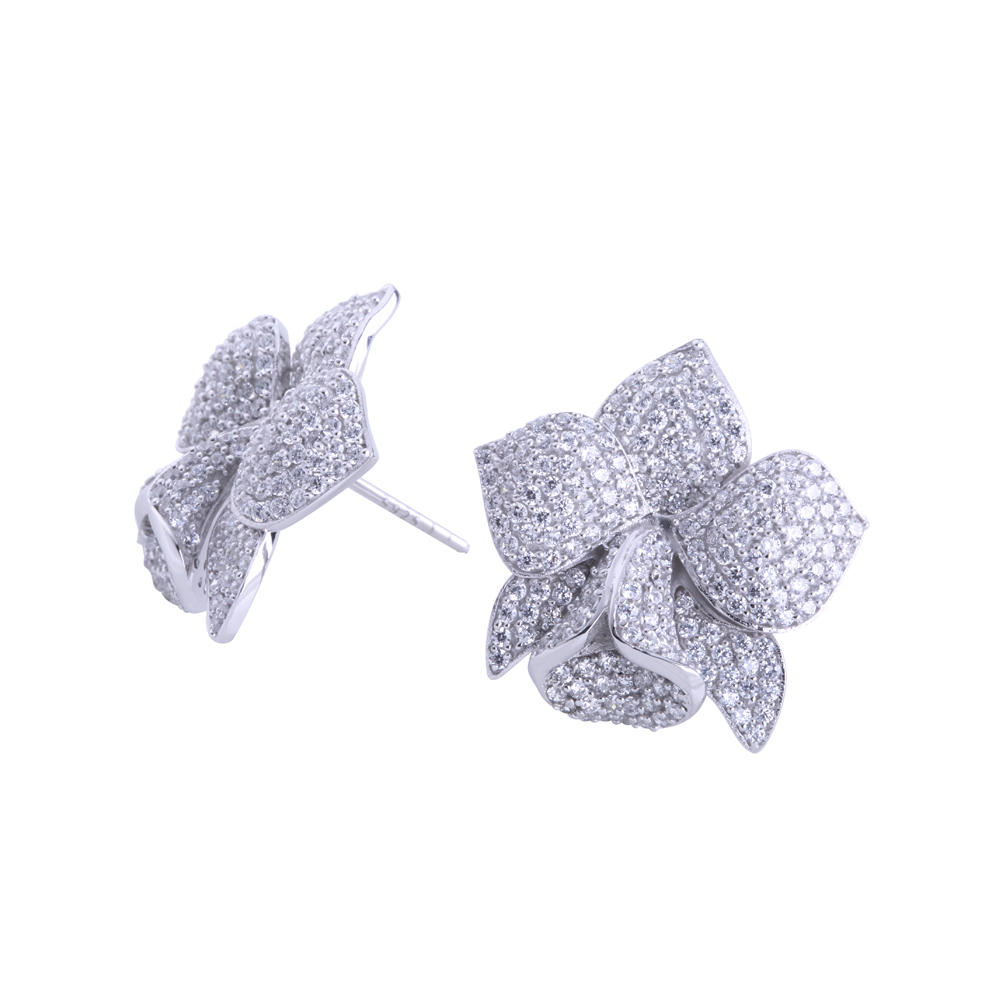 product-Full pave setting aaa cz blooming flower stud earrings-BEYALY-img-1