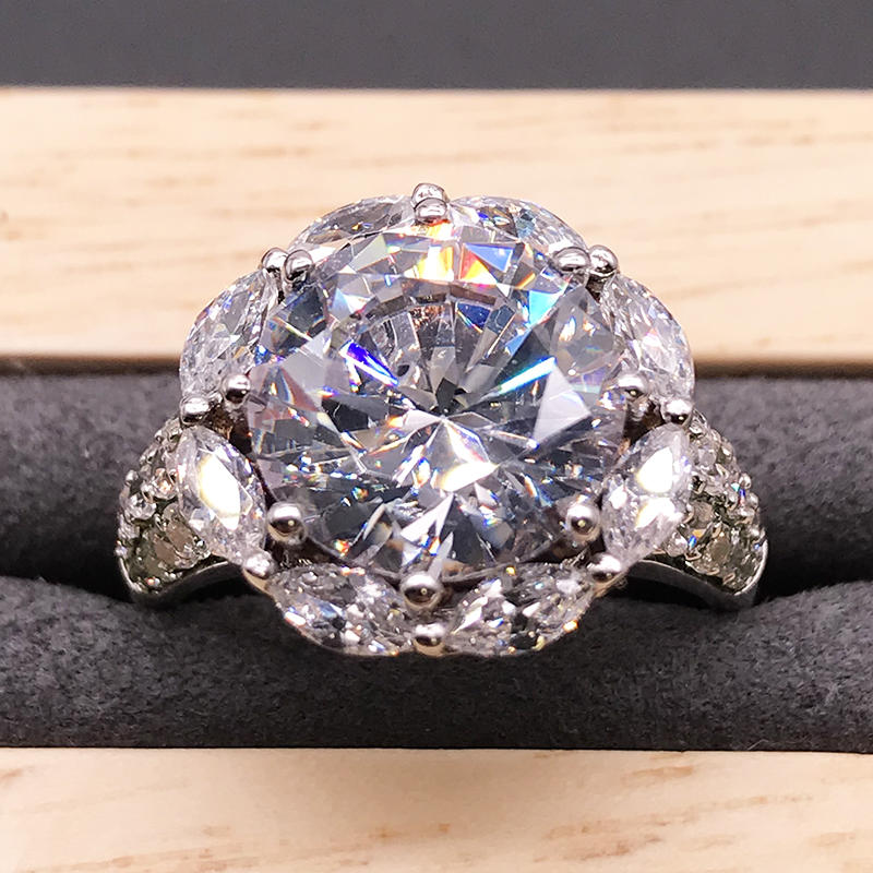 product-Fashion design silver clear cz sunflower rings-BEYALY-img-1