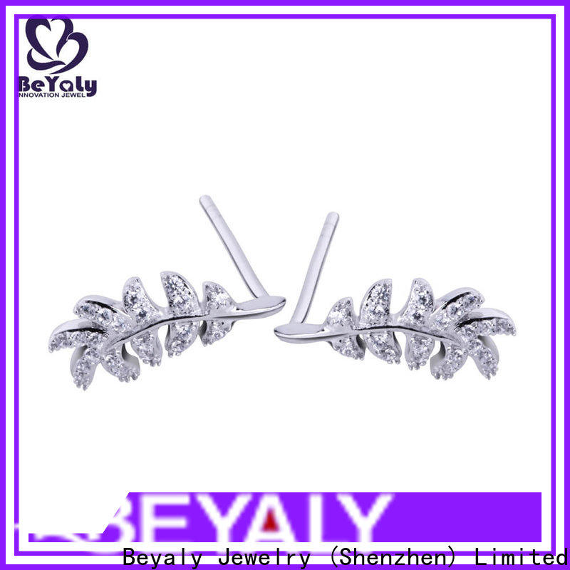 BEYALY steel pearl stud earrings with small diamond factory for advertising promotion