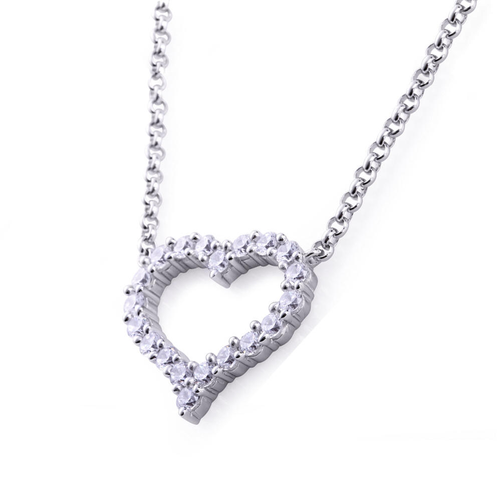 product-Hollow design stone heart shaped pendant silver chain necklace-BEYALY-img-1