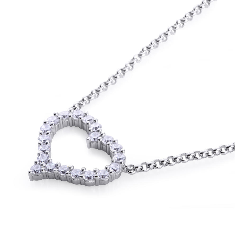 product-BEYALY-Hollow design stone heart shaped pendant silver chain necklace-img