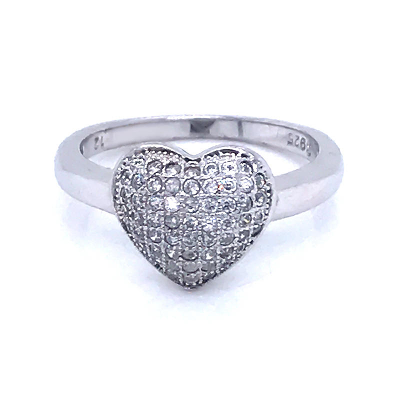 925 Sterling Silver Ring Jewelry Love Heart Shaped Ring