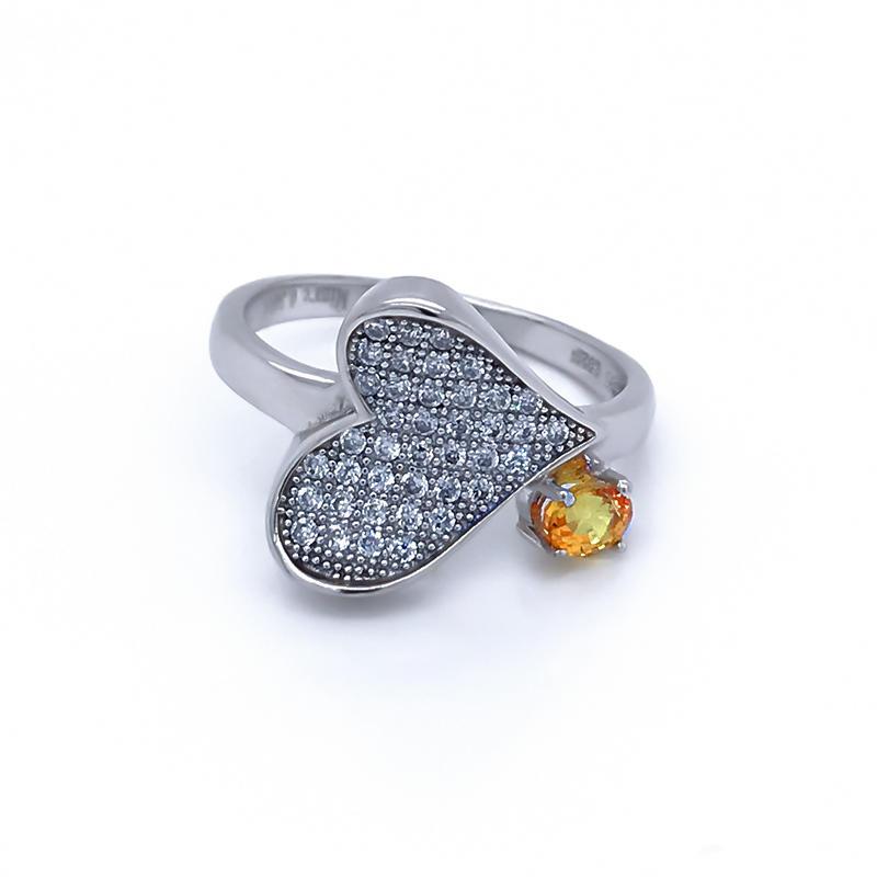 Yellow topaz clear cz silver gemstone rings