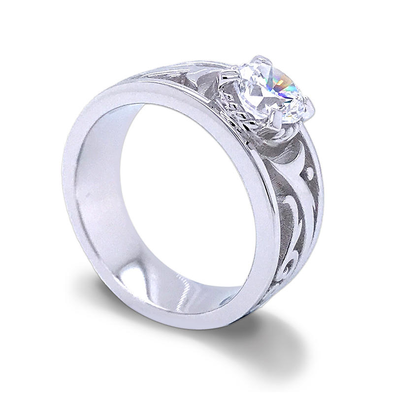 Customized 92.5% sterling silver brilliant cut zircon engagement rings for men