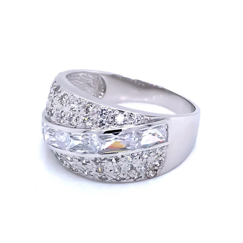 product-oblique cubic zircon half pave silver 925 ring-BEYALY-img-1
