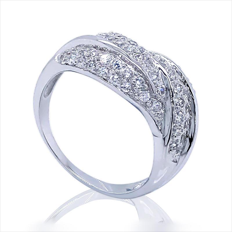 Fashion CZ Jewelry 925 Sterling Silver Leaf Ring