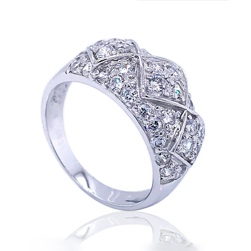 latest design diamond shape ladies white gold plated finger rings jewelry