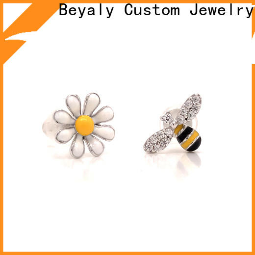 BEYALY flower gold hanging earrings with price company for advertising promotion