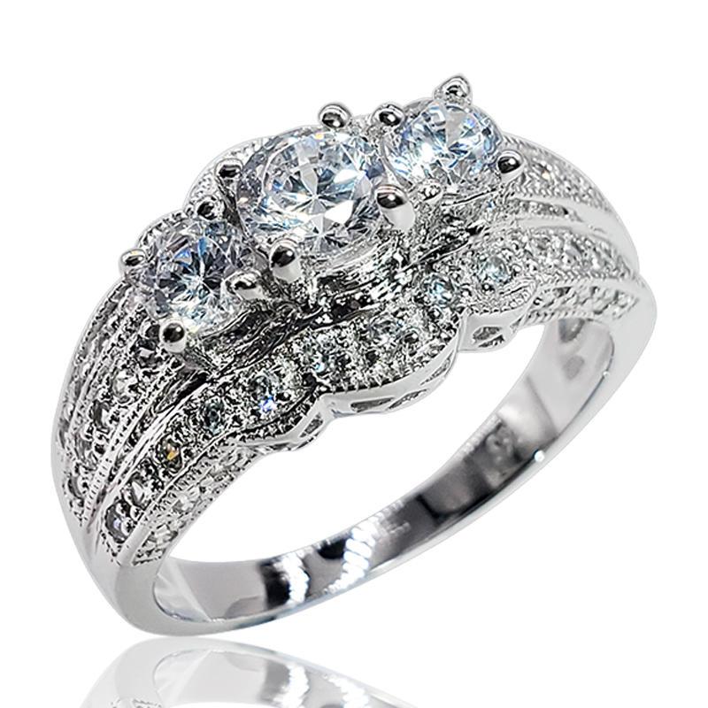 classic design three gemstone Ring Jewelry Engagement Ring