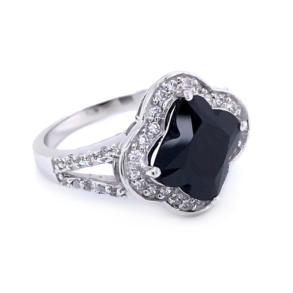 product-BEYALY-Four leaf clover cut black zircon 925 sterling silver ring jewelry-img