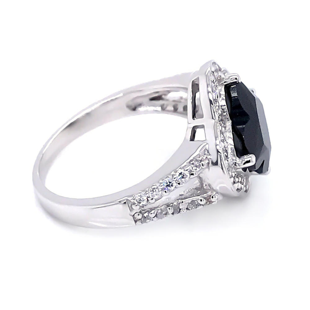 product-Four leaf clover cut black zircon 925 sterling silver ring jewelry-BEYALY-img-1