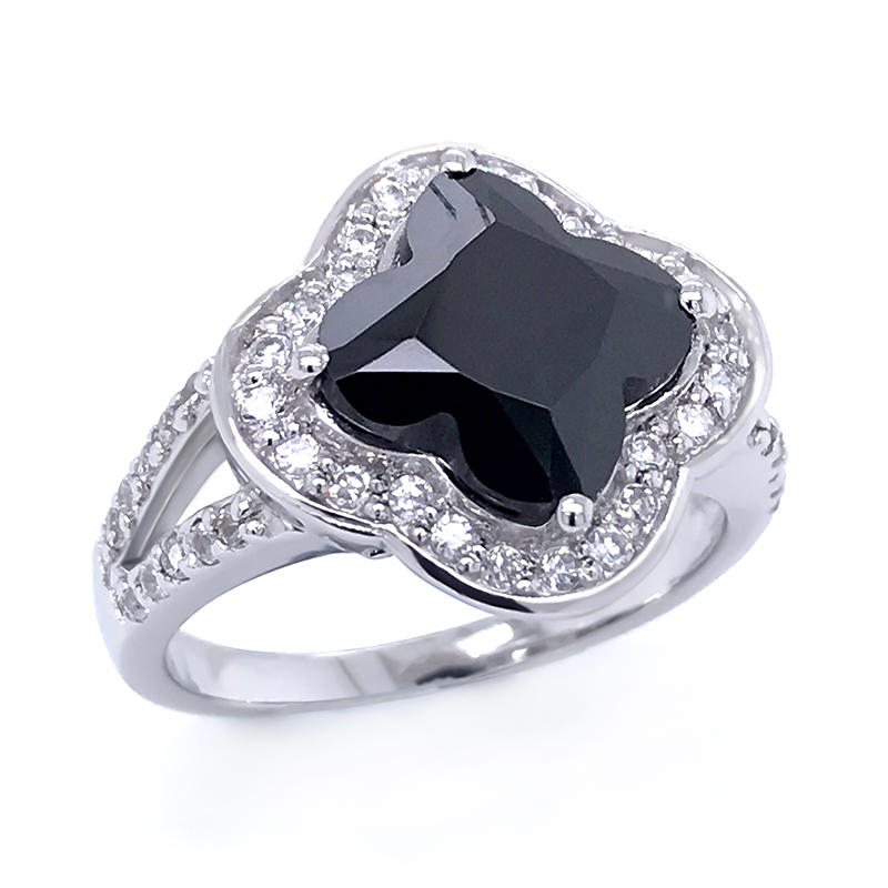 Four leaf clover cut black zircon 925 sterling silver ring jewelry