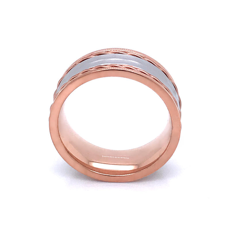 product-BEYALY-Rose gold plated stainless steel couple Eternity Rings with wire inlay,hammer texture
