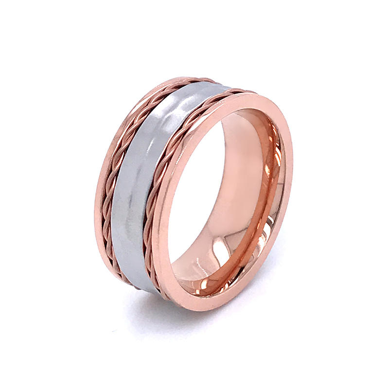 product-Rose gold plated stainless steel couple Eternity Rings with wire inlay,hammer texture ring-B-1