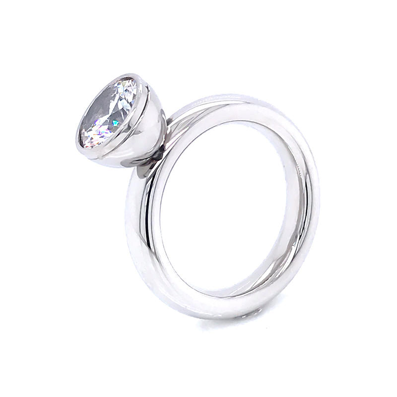 product-BEYALY-Stainless steel jewelry Bezel Setting Round CZ Engagement Rings-img