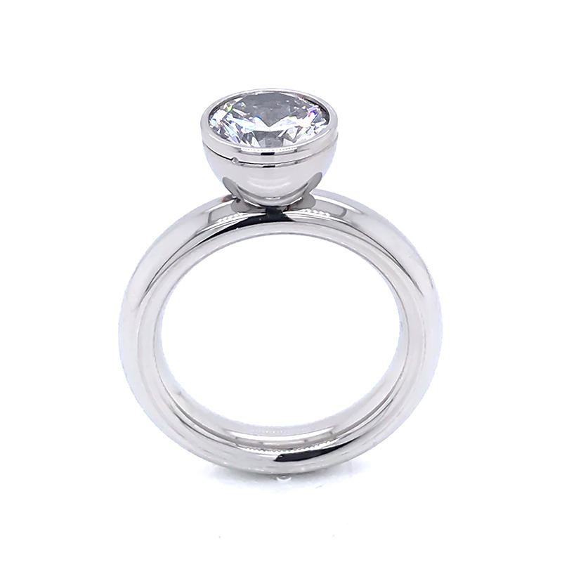 product-Stainless steel jewelry Bezel Setting Round CZ Engagement Rings-BEYALY-img-1