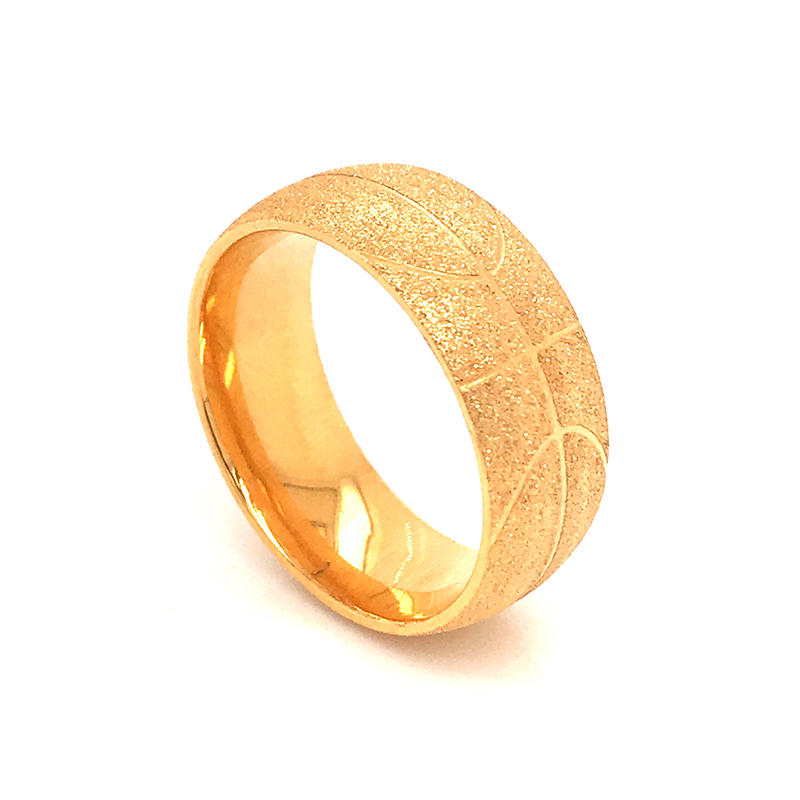 Stainless Steel Rings Circle Frosted Gold Color Polish basketball pattern ring