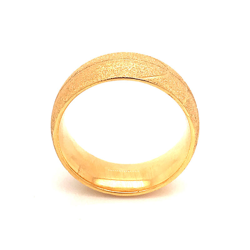 product-BEYALY-Stainless Steel Rings Circle Frosted Gold Color Polish basketball pattern ring-img