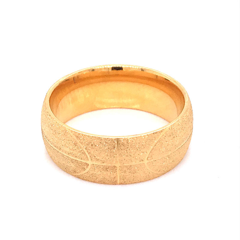 product-Stainless Steel Rings Circle Frosted Gold Color Polish basketball pattern ring-BEYALY-img-1