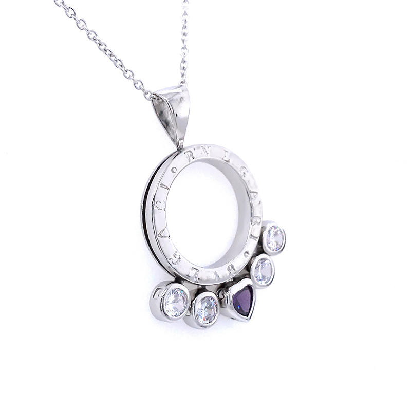product-2020 Sterling Silver Pendant necklace accessories jewelry Inlay zircon slider Pendant Weddin-1