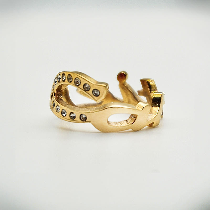 product-New fashion custom inlaid zircon trend rings 18K Gold Plated Stainless Steel Letter Rings-BE-1
