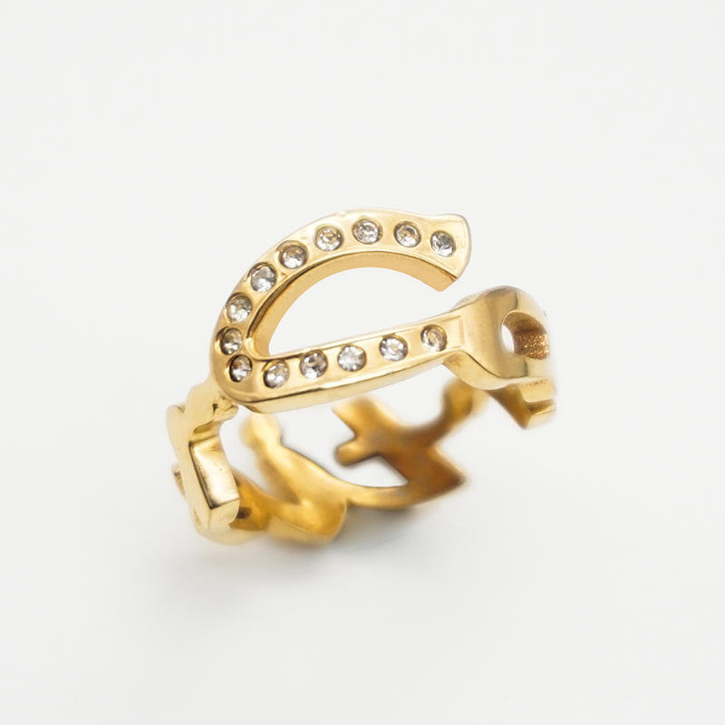 product-BEYALY-New fashion custom inlaid zircon trend rings 18K Gold Plated Stainless Steel Letter R