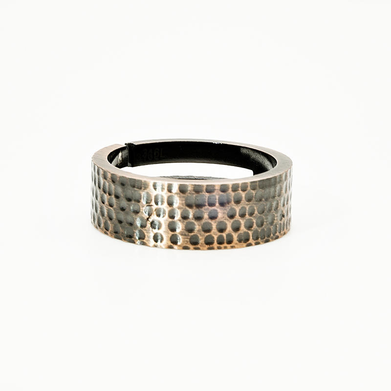 product-BEYALY-Mens stainless steel Hammered jewelry Texture Engraved Sparkling Bronze Ring-img