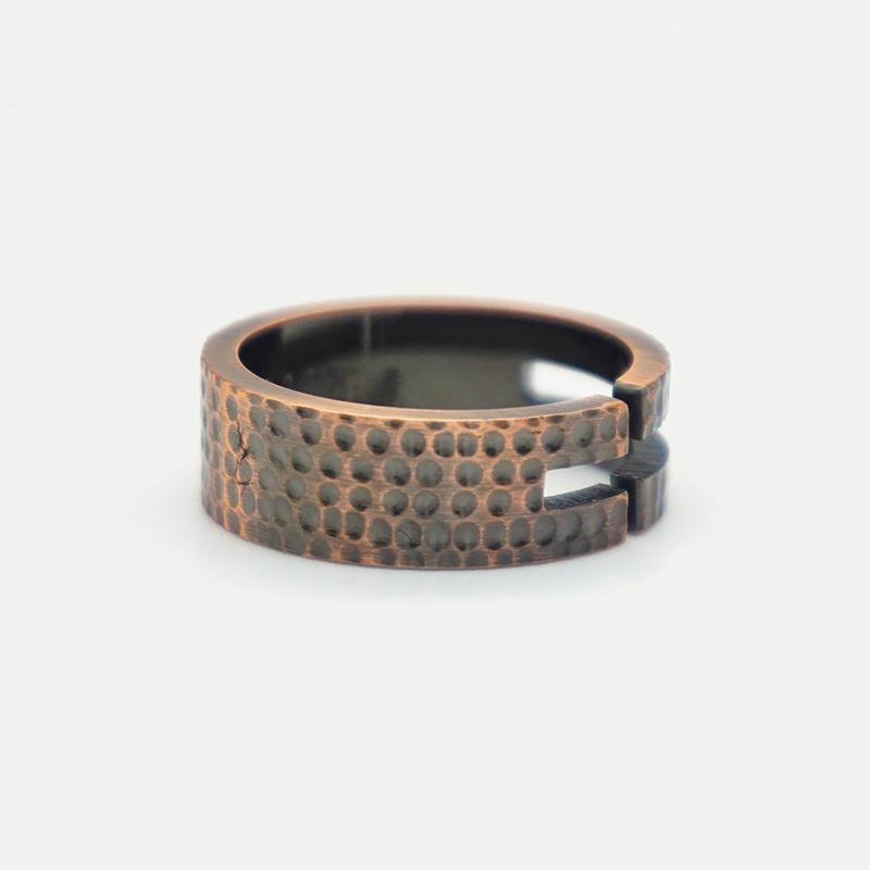 product-Mens stainless steel Hammered jewelry Texture Engraved Sparkling Bronze Ring-BEYALY-img-1