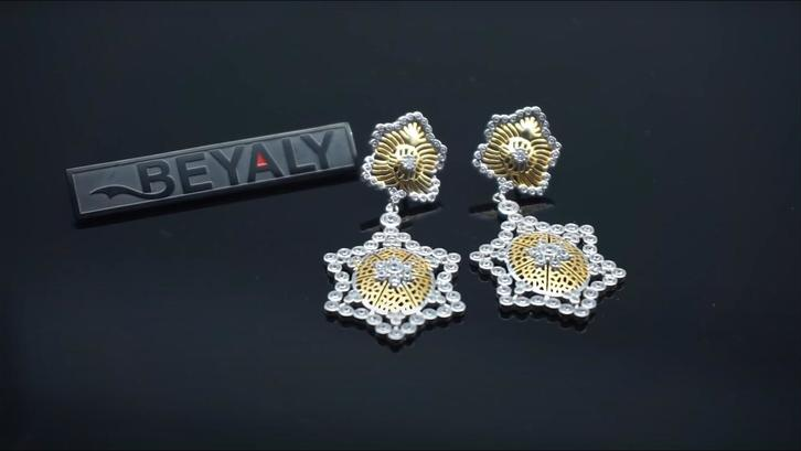 Italian craft earring jewelry honeycomb hollow gold-plated earrings