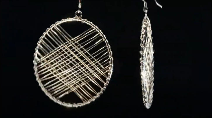 Round shape weave design sterling silver earring with gold plated
