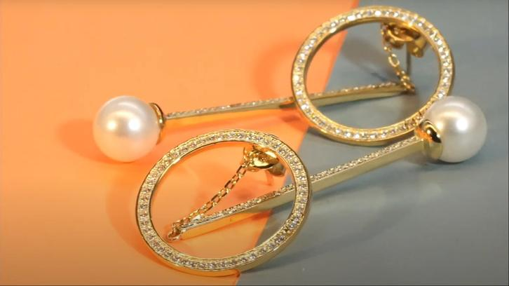 Shiny combination of strip and Circle pearl Earrings