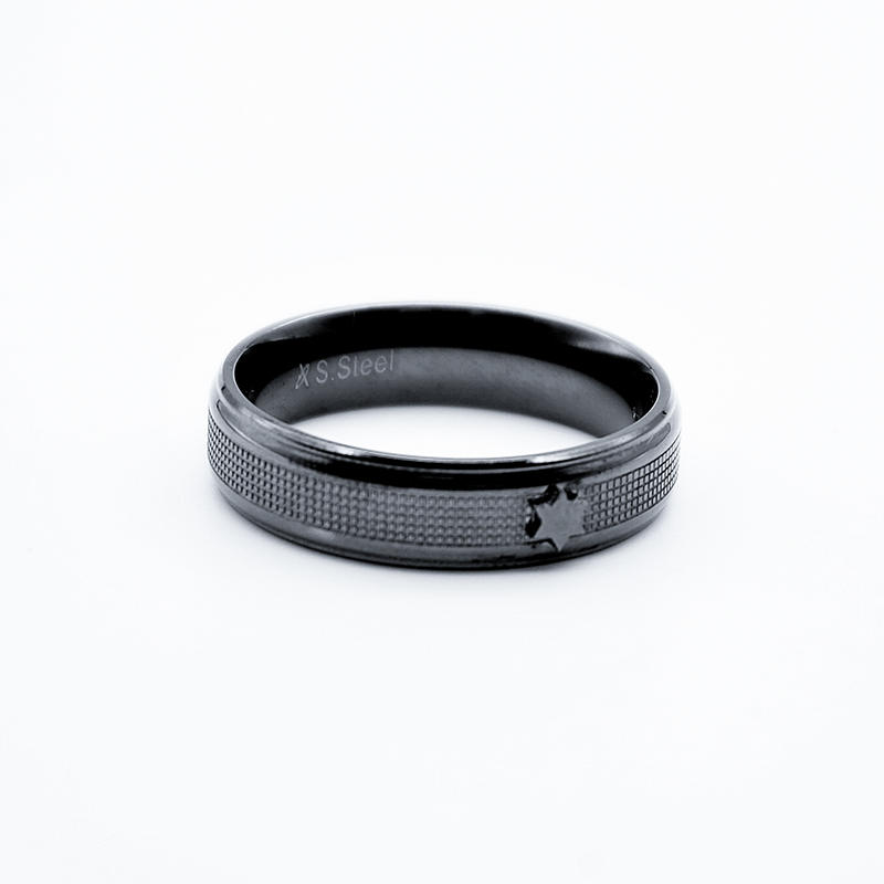 product-High Quality Hot Sale trendy rings stainless steel MenS black gun plated engrave texture sta-1