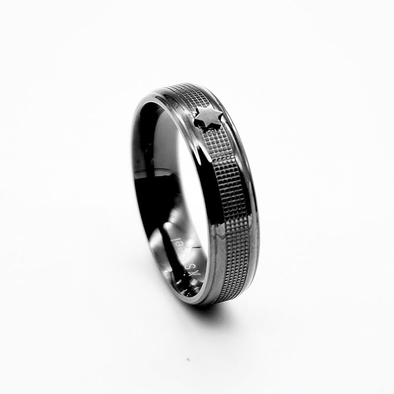 product-BEYALY-High Quality Hot Sale trendy rings stainless steel MenS black gun plated engrave text