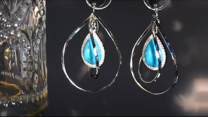 Beyaly Jewelry | Geometric design Turquoise silver earrings