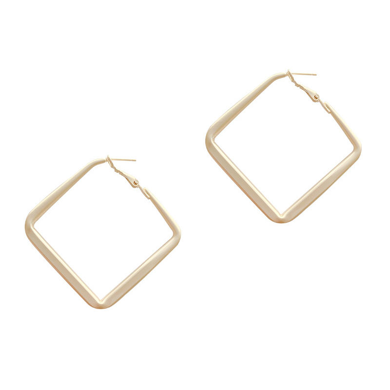 product-BEYALY-Fashion Jewelry Smooth Big square Hoop Earrings Lady Large Geometric Hollow Statement