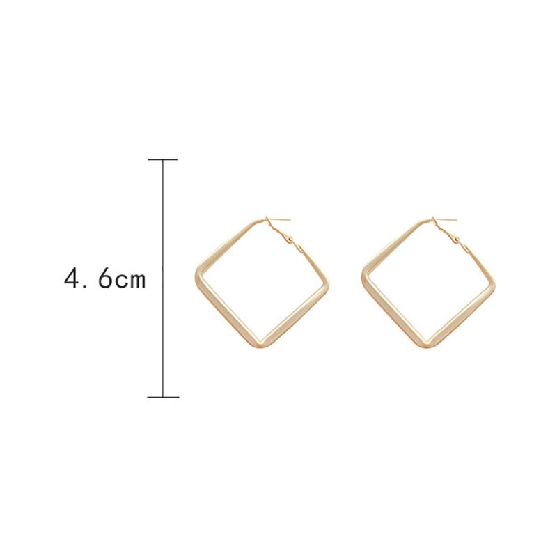 product-Fashion Jewelry Smooth Big square Hoop Earrings Lady Large Geometric Hollow Statement charms-1