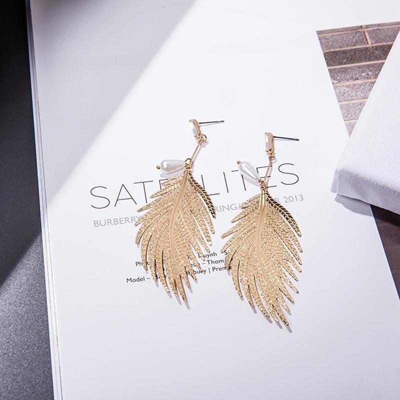 product-Custom Womens Jewelry Online Fashion Gold Plated Jewelry Leaf Shape Pearl Drop Earrings-BEYA-1