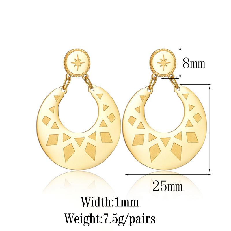 product-Custom Stainless Steel Big Hoop Earring Jewelry Women jewelry customized moon and star earri-1