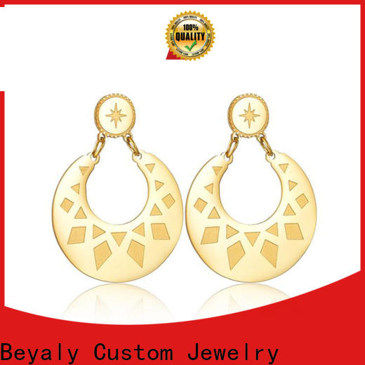BEYALY steel gold hanging earrings with price manufacturers for anniversary celebration