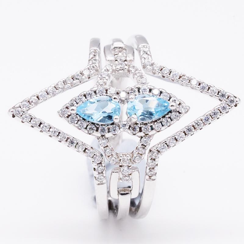 product-Special design elegant blue genstone diamond ring-BEYALY-img-1