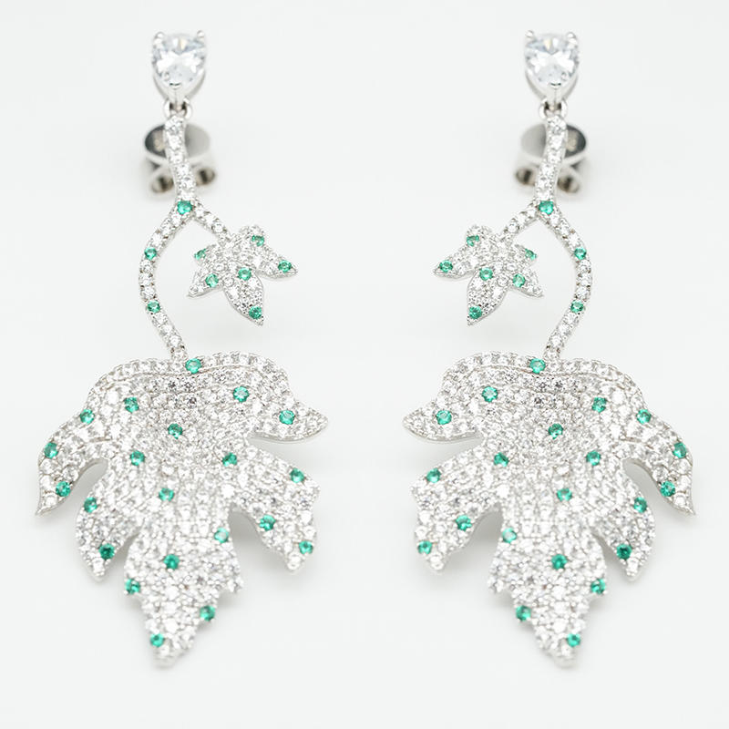 product-BEYALY-2021 Popular Summer Season 925 Sterling Silver AAA CZ emerald color stone maple leaf