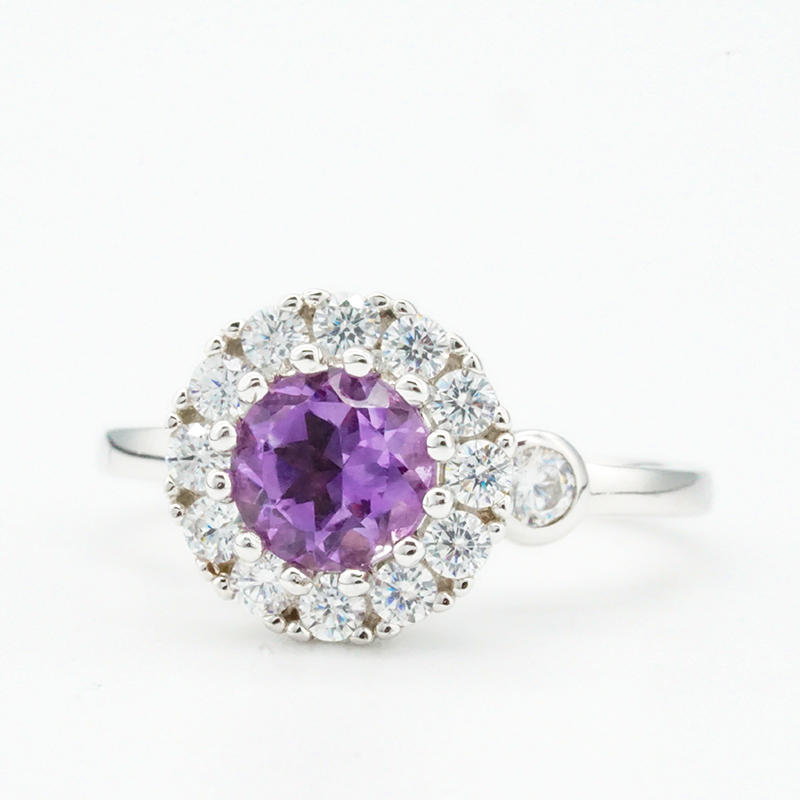 product-BEYALY-Elegant women natural amethyst 925 sterling silver rings wedding and engagement rings