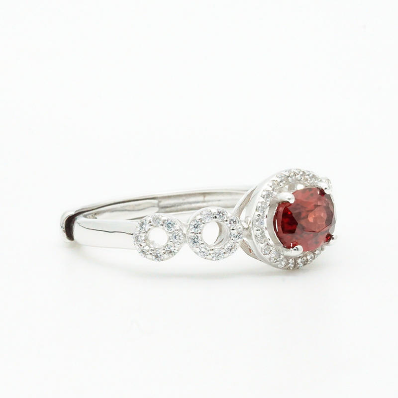 product-High Quality Engagement Ring Ingenious Female Lovely red Stone Silver Wedding Ring OEM Exper-1