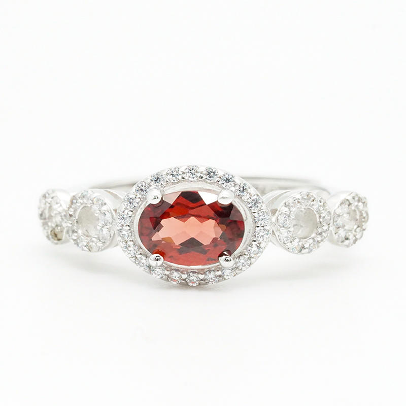 product-BEYALY-High Quality Engagement Ring Ingenious Female Lovely red Stone Silver Wedding Ring OE