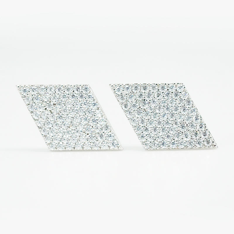 product-Fashion design Earrings Personalized Iced Out CZ Full Diamond Shape Stud Earrings Jewelry fo-1