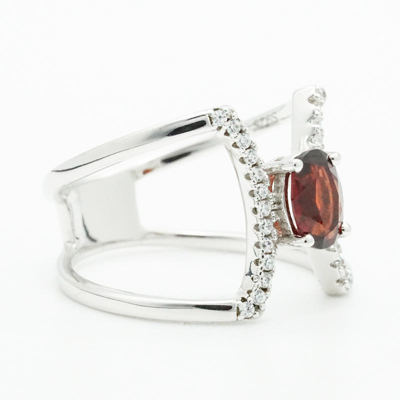 product-BEYALY-Fashion simple design charm shiny red zirconia geometric rings for women fashion jewe