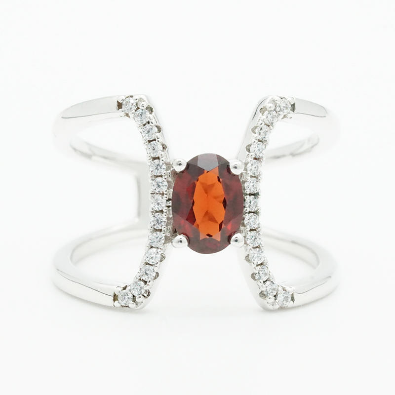 Fashion simple design charm shiny red zirconia geometric rings for women fashion jewelry